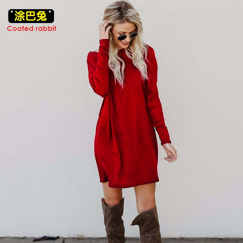 Coated rabbit Knitted Women Dress 2018 Spring Elegant Loose Long Sleeve O-Neck Pockets Dress Casual Female Plus Size plain loose long sleeve plus size dress