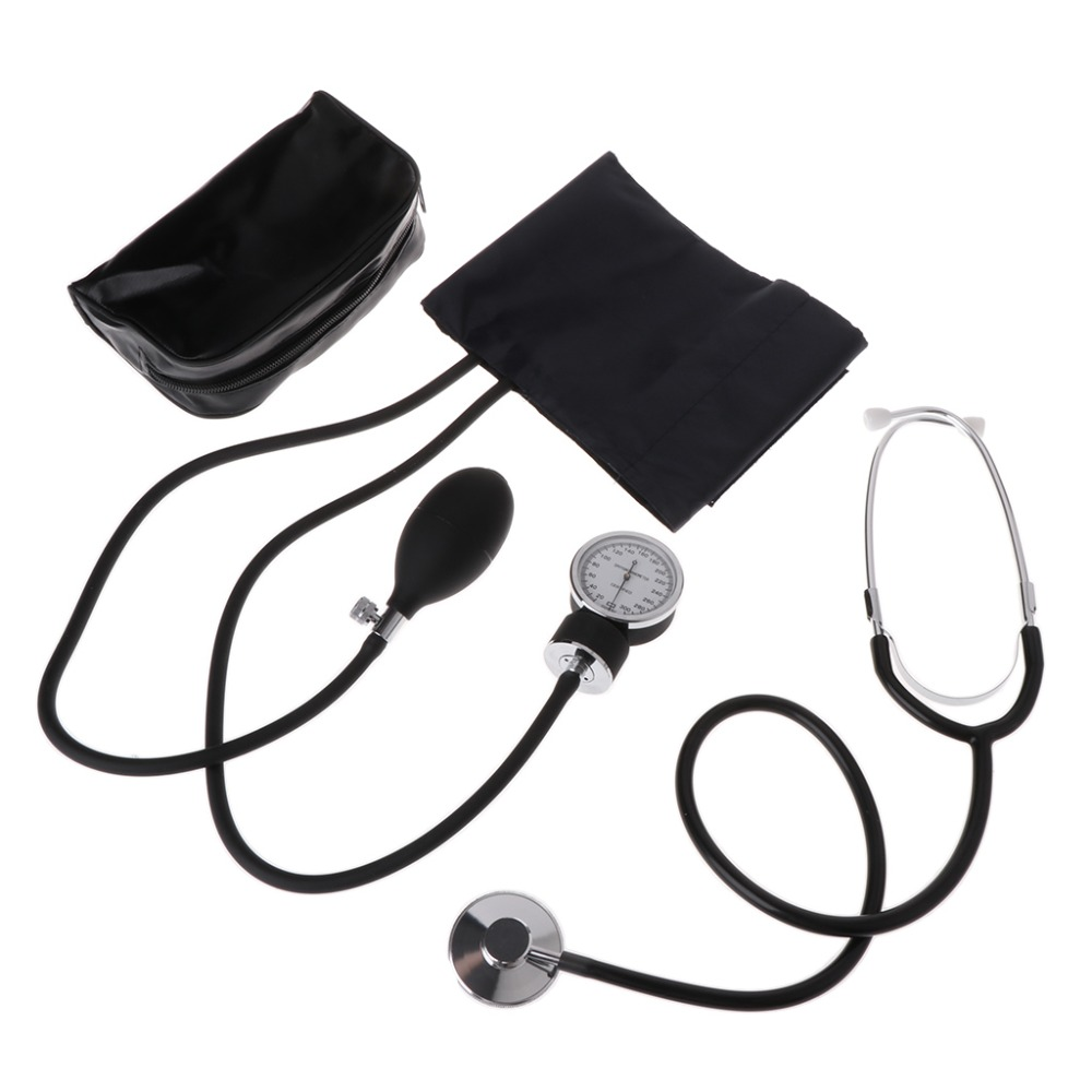 Pro Medical Blood Pressure Monitor Meter Stethoscope Cuff Aneroid Sphygmomanometer Portable Travel Household Health Monitors