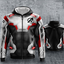 цены на Avengers 3 Endgame Quantum Realm  Hoodies Sweatshirts Cosplay Hooded Casual Coat Zip Up Hoodie Jacket clothing в интернет-магазинах