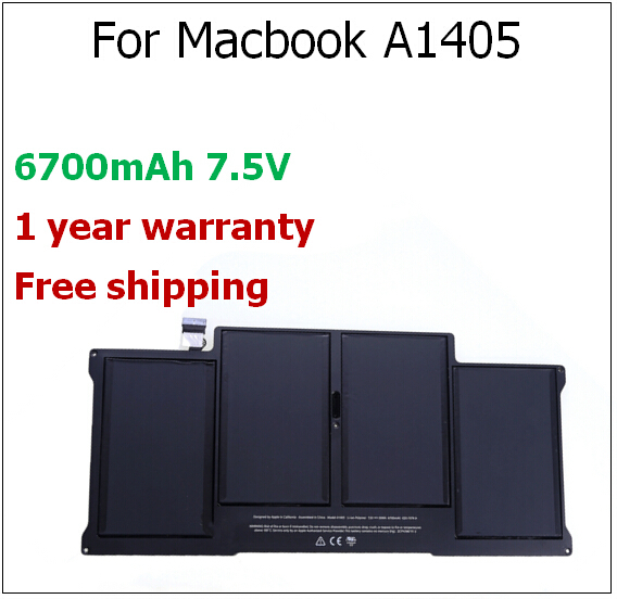 A1405 6700mAh Laptop Battery for Macbook A1405 for apple A1466 A1369 A1466 For Macbook Air 13.3 A1369 2012