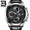 Switzerland luxury watch BINGER brand quartz Men's Big Dial Designer Chronograph Water Resistant Wristwatches B-9018-6