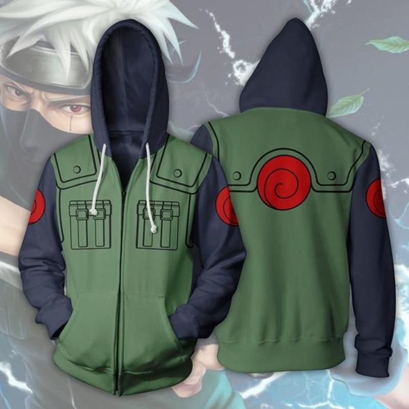 Anime Naruto Hatake Kakashi 3D Print Hoodies Sweatshirts Cosplay Hooded Casual Coat Jacket