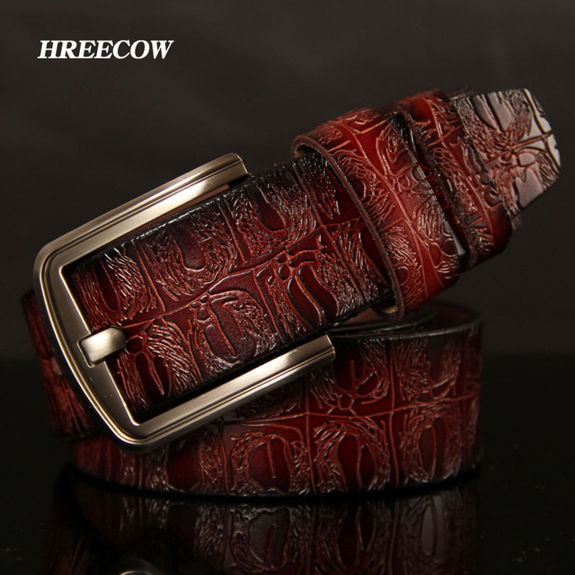 HREECOW Designer Belts Men High Quality Male Belt Genuine Leather Strap Luxury Famous Brand Crocodile Pin Buckle Ceinture Homme