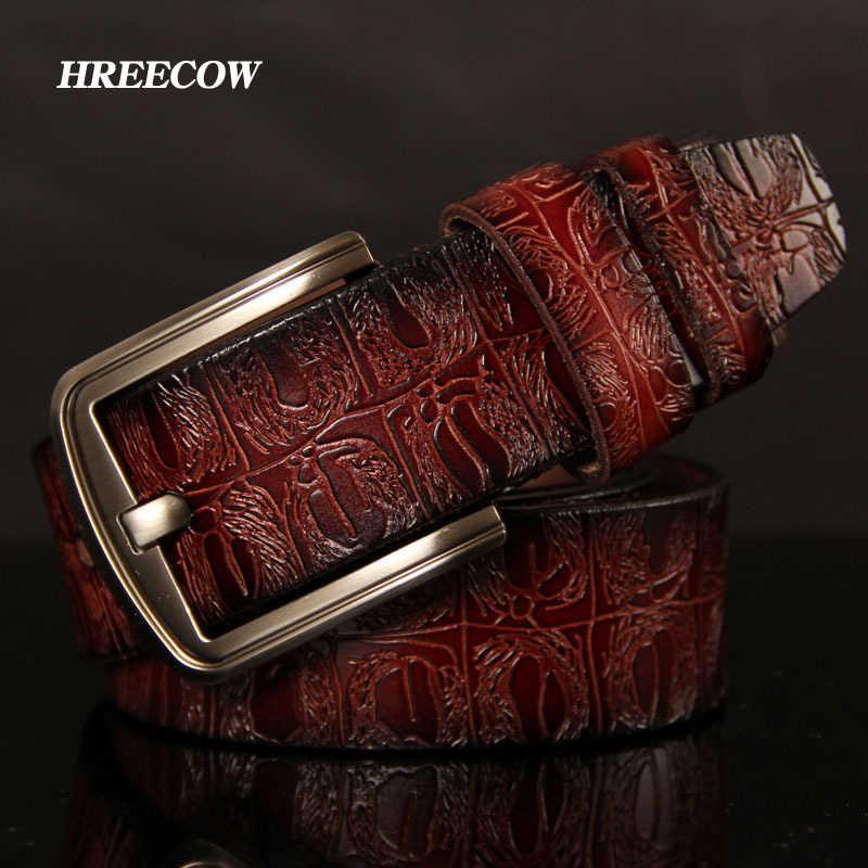 Hreecow Designer Cinture da Uomo di Alta Qualità Della Cinghia Maschio Cinturino in Vera Pelle di Lusso Famoso di Marca Del Coccodrillo Spille Fibbia Ceinture Homme