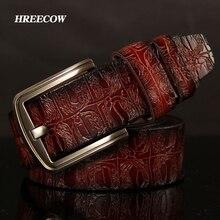 Hreecow cinto masculino de couro genuíno, cinto de couro de alta qualidade, marca famosa, de luxo, crocodilo, com fivela