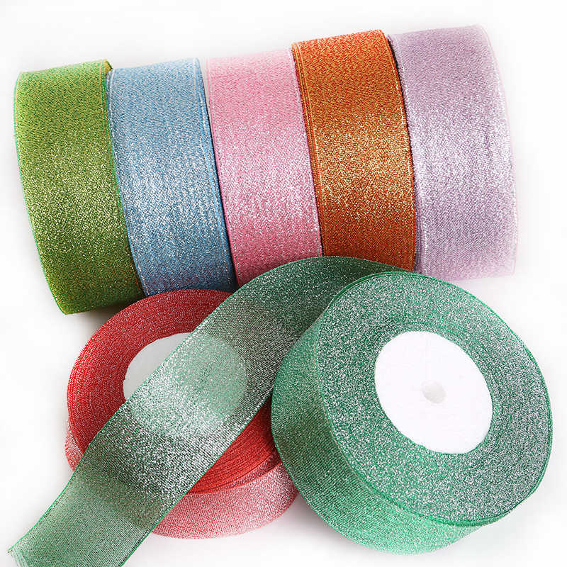 Metallic Ribbon Organza Ribbon For Wedding Party Decoration Gift Wrap Christmas Ribbons DIY Handmade Material (25yards 38mm)