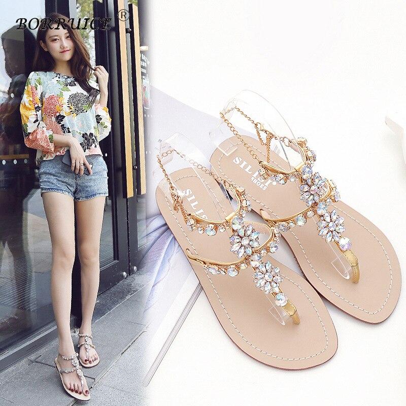 2018 Woman Sandals Flat Sandals Fashion Rhinestones Chains Shoes Gladiator Flat Sandals Summer wedges Open Toe tenis feminino