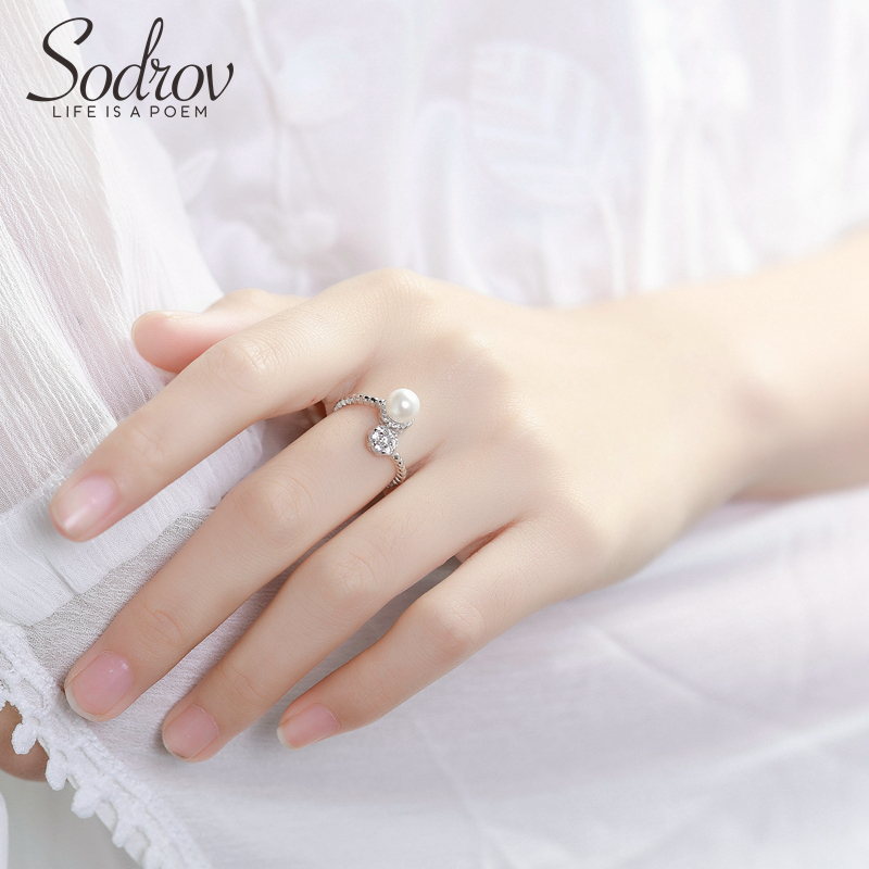 Sodrov Wedding Jewelry Ring 925 Sterling Silver Engagement For Women Round Pearl Bands