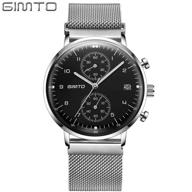 GIMTO New Watches Mens Quartz Watch Stainless Steel Mesh Band Slim Men Silver Watch Student Sports Wristwatch Relogio Masculino fashion men s casual quartz watch stainless steel mesh band gold watch slim men watches multi function sports watches relogio
