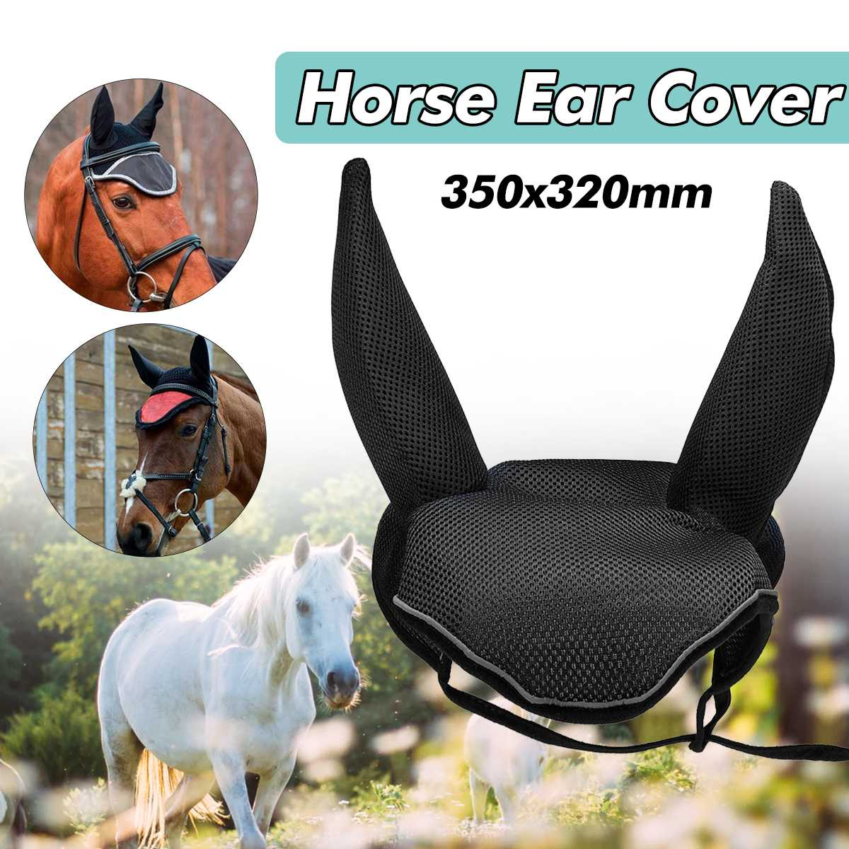 New Horse Ear Cover Horse Equipment Outdoor Equestrian Protector Horse Riding Breathable Meshed Ear Net Cover Prevent Insects