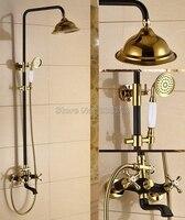 Black Oil Rubbed Bronze & Gold Color Brass Rainfall Bathroom Rain Shower Faucet Set with Handheld Shower & Tub Mixer Taps Wrs900