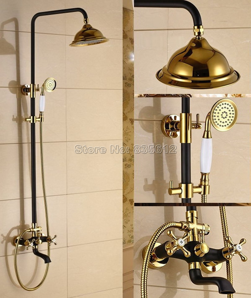 Black Oil Rubbed Bronze & Gold Color Brass Rainfall Bathroom Rain Shower Faucet Set with Handheld Shower & Tub Mixer Taps Wrs900