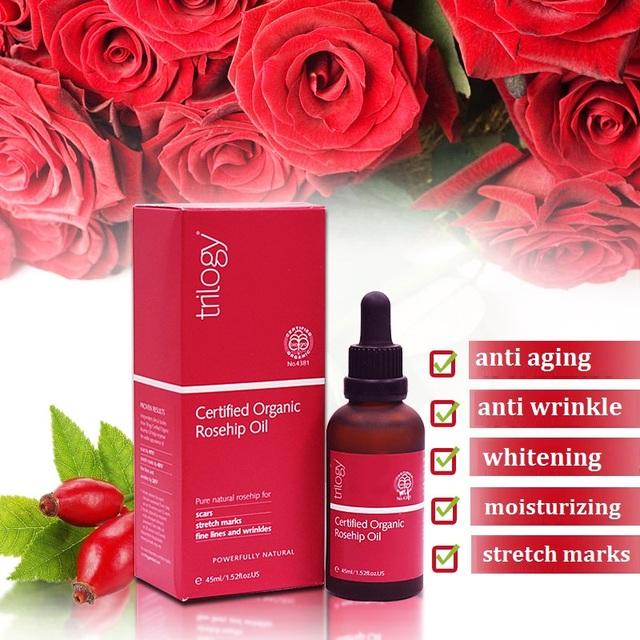 100% original nova zelândia orgânica certificada óleo de rosa mosqueta trilogy para linhas finas rugas cicatrizes estrias envelhecimento da pele desidratada