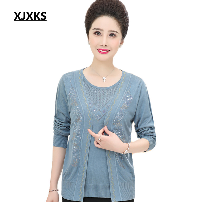 XJXKS Two piece women s sets spring autumn cardigan hot drilling loose wool and cashmere long
