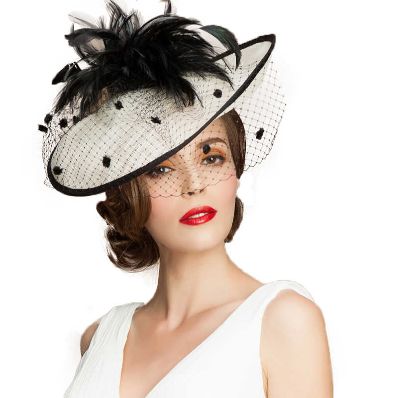British Women Hat Summer Black White Church Hats Fascinator Wedding With Veil Feather Elegant Large Lady Linen Fedoras
