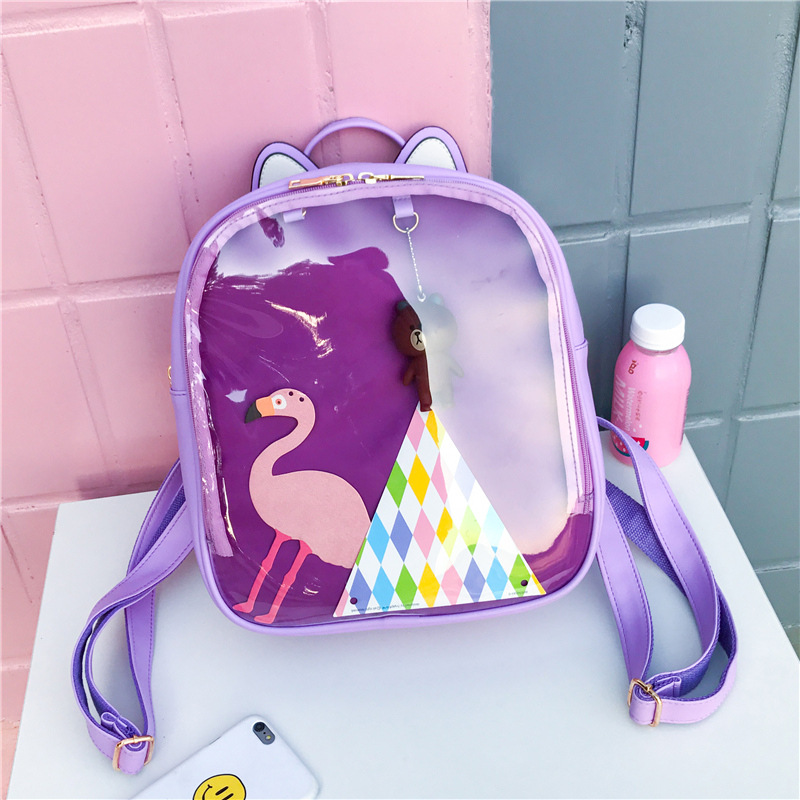 Women Candy Color Cat Ita Bag Korean School Bags for Teenage Girls PU Leather Jelly Transparent Backpack Rugtas Mochila Escolar