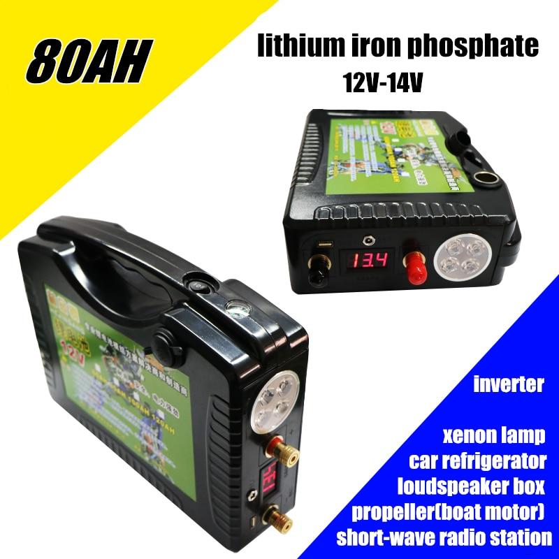 Alta dreno 12 V 14 V 80AH 800WH 5 v USB bateria de fosfato de ferro De Lítio li-ion Recarregável Baterias de emergência ao ar livre banco do poder