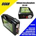 Hohe ablauf 12 V 14 V 80AH 800WH 5 v USB lithiumeisenphosphat Li-ionen-akkus für freien notfall energienbank