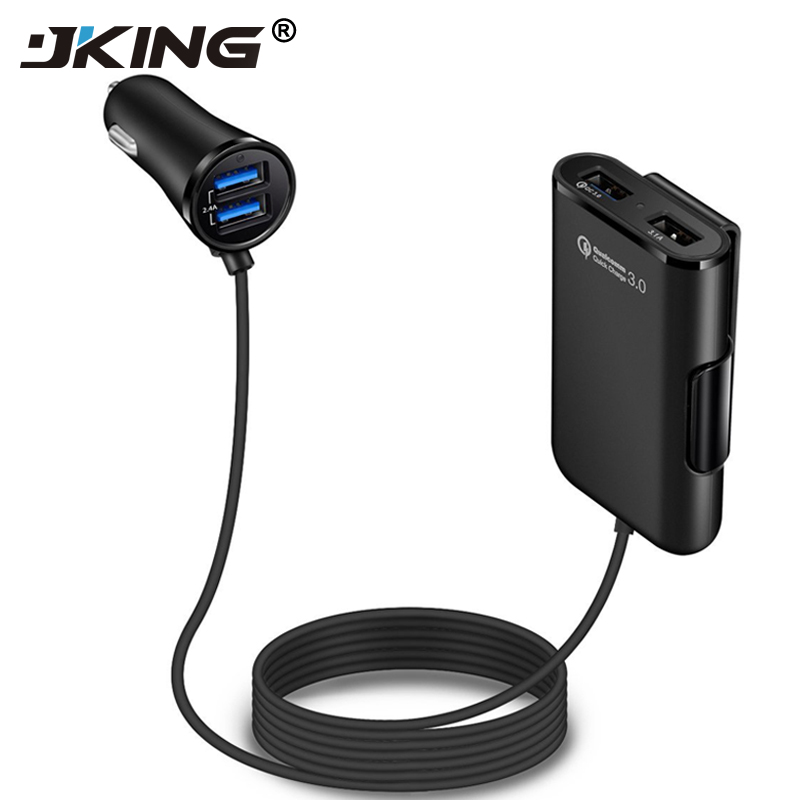 JKING 4 Ports QC3.0+2.4A+3.1AUSB Car Charger Universal USB Fast Adapter with 5.6ft Extension Cord Cable for MPV Car Phone