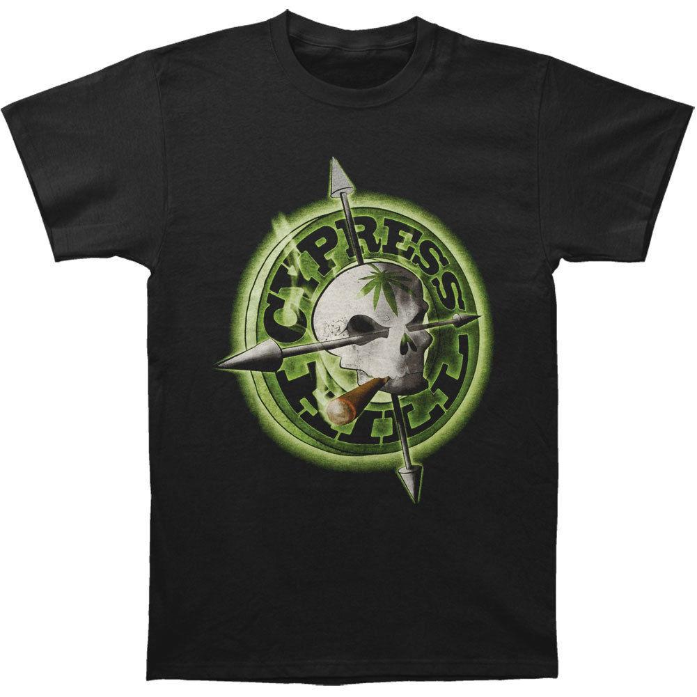 Cypress Hill Для мужчин храмов стрелы тур футболка черный натуральный хлопок круглый вырез горловины Для мужчин топы, футболки