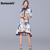Borisovich Women Summer Casual Dress New Brand 2019 Fashion Vintage Print Knee length Female Elegant Shirt Dresses N1117