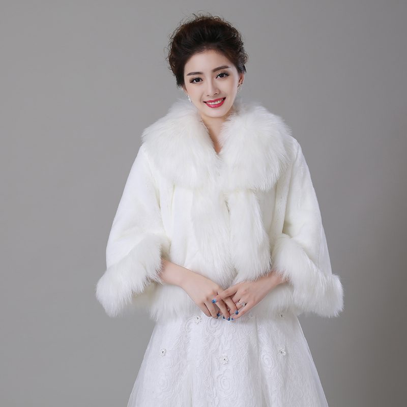Ivory faux fur winter women wedding party coat cloak long for Womens dress jacket wedding