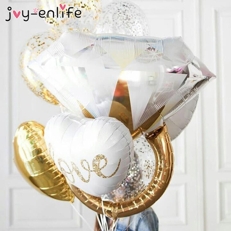 Joy Enlife 1pcs Rose Gold Diamond Balloon Wedding Decorations