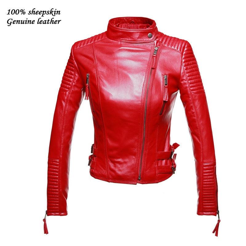 Chaquetas de cuero mujer roja