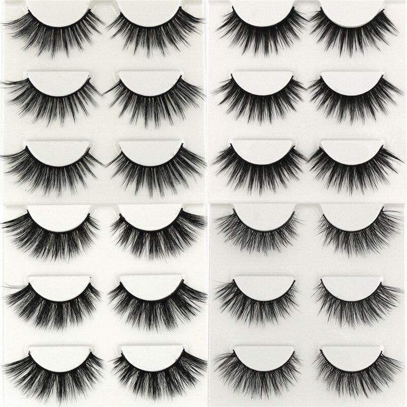 15 Types of 3 Pairs of False Eyelashes Long Thick Natural ...