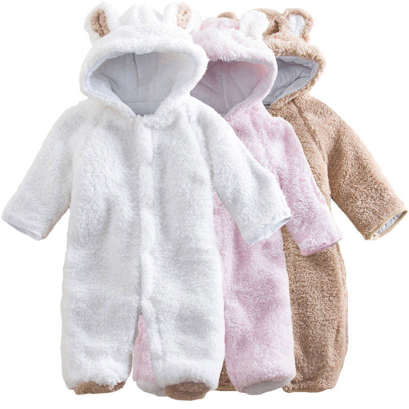 Baby Clothes 2017 Infant Romper Baby Boys Girls Coral Velvet Jumpsuit  Bebe Clothing Hooded Toddler Cute Baby Costumes Drop Ship newborn baby rompers baby clothing 100% cotton infant jumpsuit ropa bebe long sleeve girl boys rompers costumes baby romper