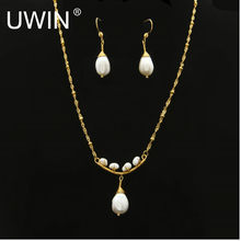 Women Fashion Pearl Jewelry Set Stainless steel Gold Chain White Real Natural Freshwater Pearl Pendant Necklace Drop Earring Set(China)