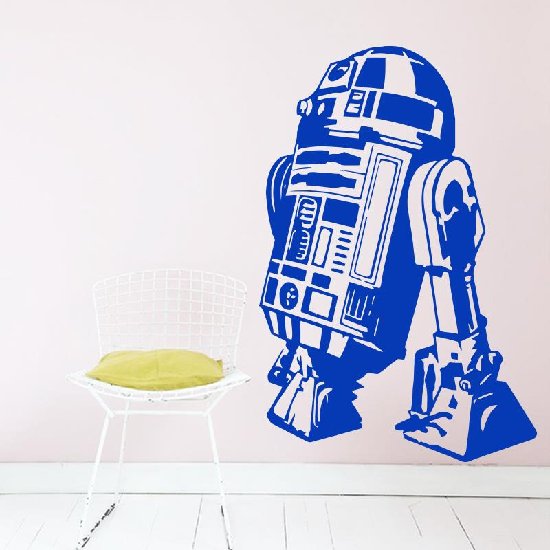 Art Design Star Wars robot Muursticker Quote R2 D2 Sticker Vinyl Interieur Kinderen Geek Gamer Verwijderbare Muurschildering Slaapkamer behang