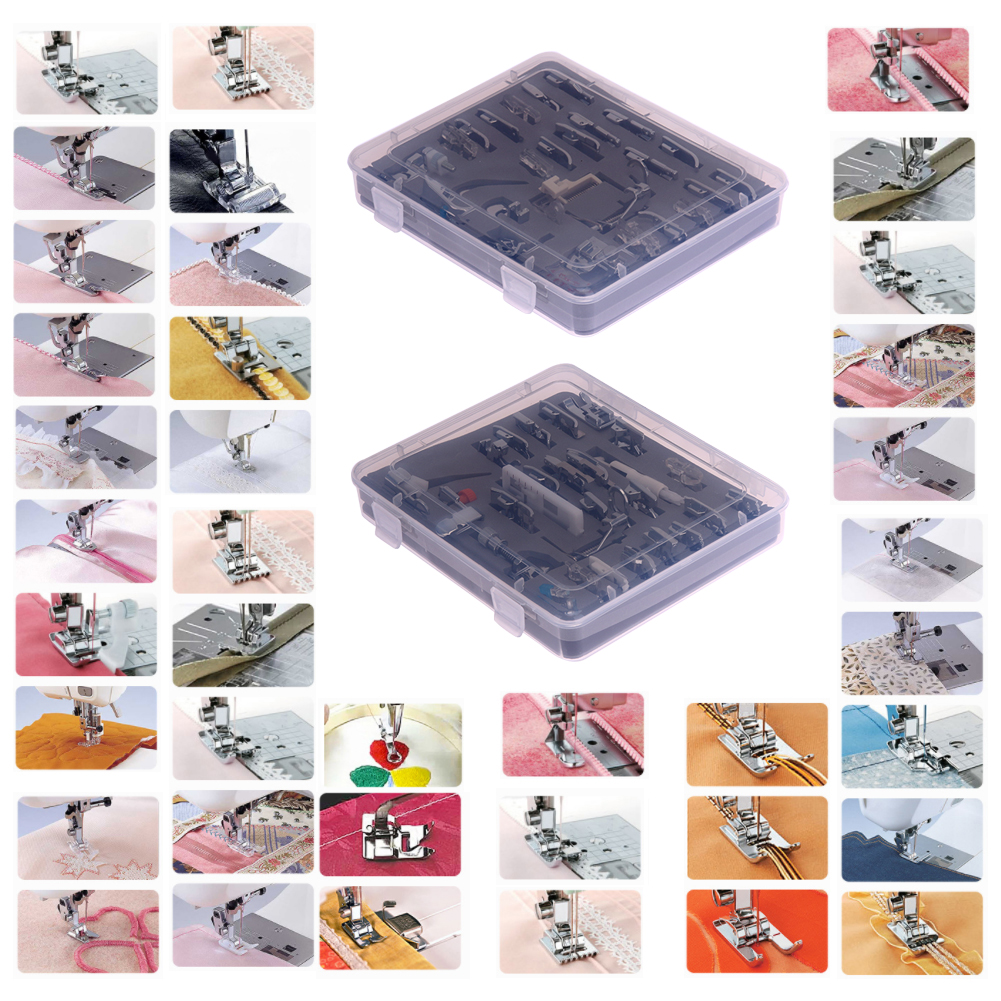 52 PCS Knitting Needle Domestic Sewing Machine Presser Feet Set Accessories Multifunctional Stitch Presser Foot Feet Kit Set