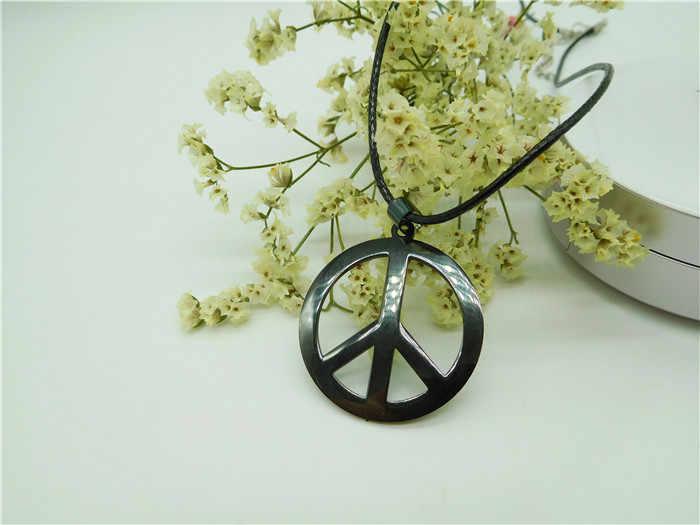 HC moda paslanmaz çelik kolye kadın erkek kolye moda barış burcu dünya barış kolye siyah renk paslanmaz çelik Charm F