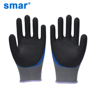 Smar 10 Pairs Working Gloves Men Polyester Latex Crinkle Rubber Gloves Work Safety Gloves Hand