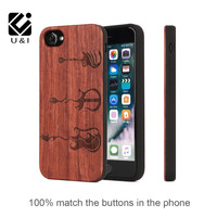 TPU and Wood Case Cover for iPhone 7 7 Plus Handmade Carving music Pattern Wood Case Novelty Vintage Cover for Apple 6 plus