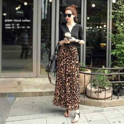 2019 Women Summer Beach Leopard Chiffon Max Skirt Pleated Long Skirt Ladies Elastic Waist Long Skirt DV801