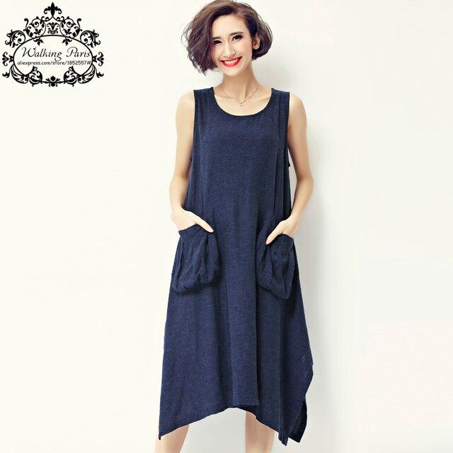 827566d1cc 2017 Summer Sundress Women Dress Sleeveless Linen Vest Asymmetrical Hems  Midi Tunic Casual Dresses Vintage Sexy