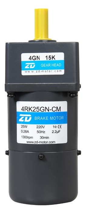 25W constant speed with brake 80*80mm single phase Micro AC reversible gear motor ratio 7.5:1 output speed is 180rpm 100w output power 22mm small ac gear motor 3 phase motor with 2 gearbox ratio 60 100
