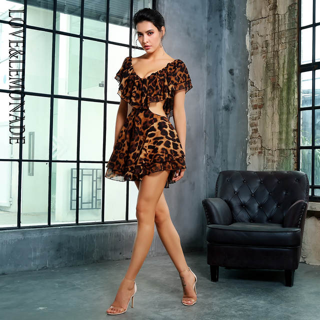 346d33f7834ad US $29.66 14% OFF Love&Lemonade Deep V Neck Side Cut Out Leopard Print  Chiffon Frill Dress LM81369-in Dresses from Women's Clothing on  Aliexpress.com ...