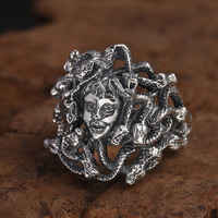 High quality S925 Sterling Silver Million snake Medusa Ring for men women Vintage Punk Rock Heavy Thai silver Ring Jewelry Gifts