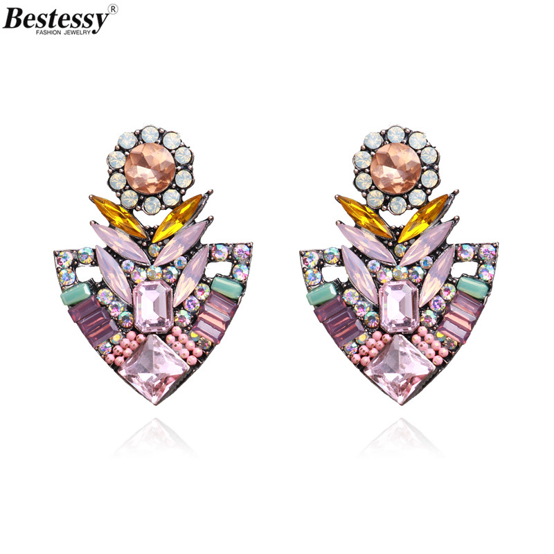 Bestessy Flower Stud Earrings for Women Bohemian Colorful Floral Party Lady Jewelry Accessories Bijoux Wholesale