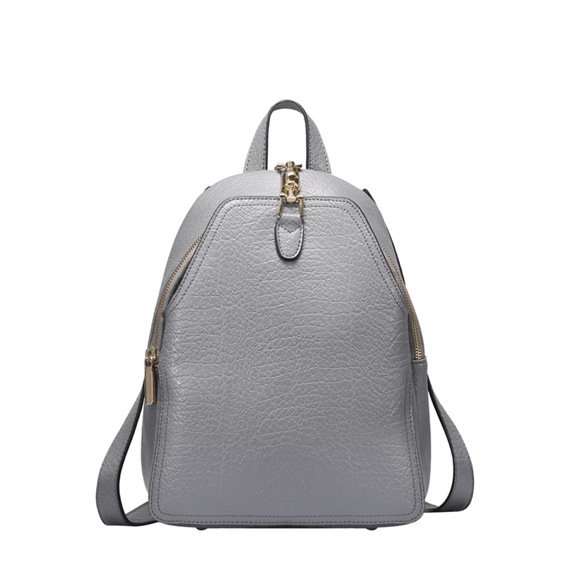 Fashion Backpack Women Natural Genuine Leather For Girls School Travel Backpack Female Backpacks Black Purple Gray Color #Q0752 zency genuine leather backpacks female girls women backpack top layer cowhide school bag gray black pink purple black color