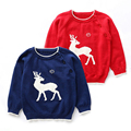 Simple fashion spring and autumn new chip deer children cotton jacquard sweater hedge