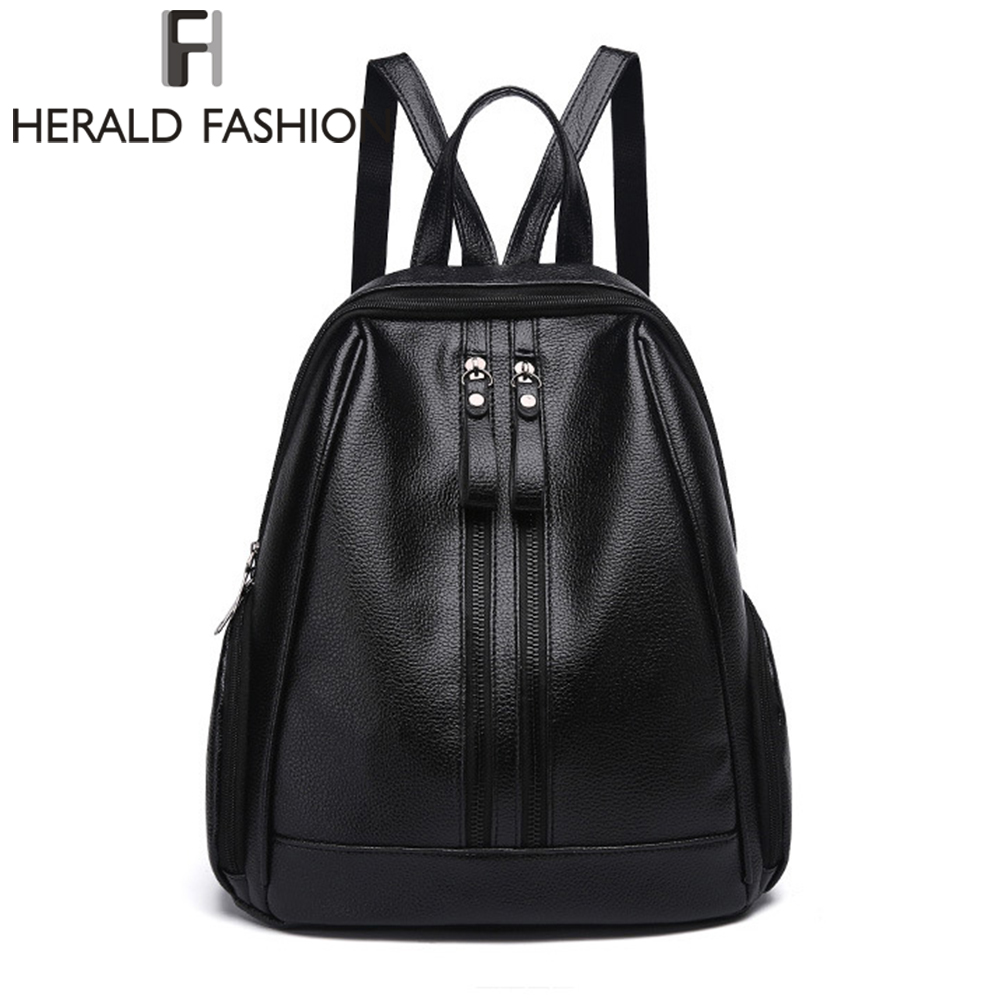 Herald Fasion PU Leather Backpacks for Adolescent Girls Zipper Backpack Female Backpack to School Notebooks Laptop College bag jaspreet kashyap active transport to school in adolescent s