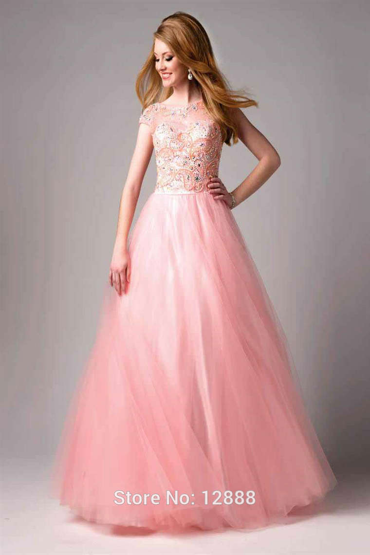 Pink Red Black Tulle Cap Sleeve Ball Gown Quinceanera Dress With ...