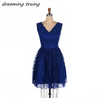Sexy Royal Blue Short Mini Cocktail Dresses Lace V Neck Zipper Back Women Prom Party Gowns