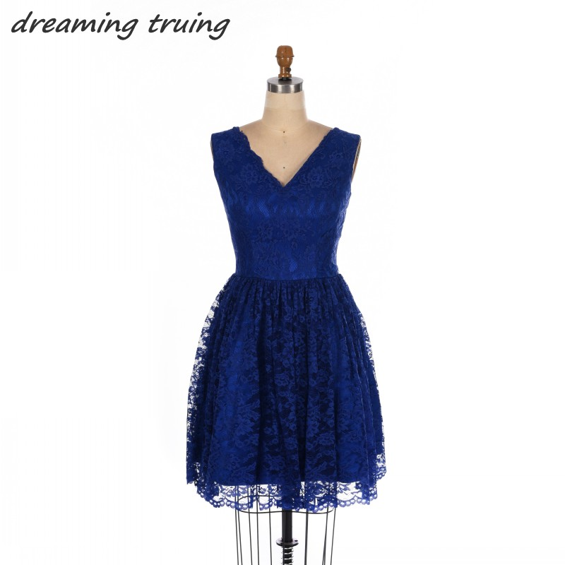 Sexy Royal Blue Short Mini   Cocktail     Dresses   Lace V Neck Zipper Back Women Prom Party Gowns robe   cocktail   courte chic 2018