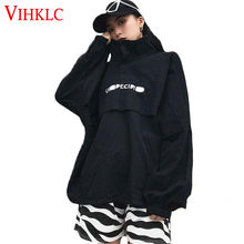 Hooded Trench Coat Korean Version Ulzzang Loose Stand Collar Embroidery Harajuku Style BF Spring Autumn Student Women Tide X121(China)