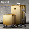Luxury Full Aluminum Magnesium Alloy Trolley Suitcase Men Rolling Luggage Business Women Travel Suitcases Rose Gold Feixueer Hot